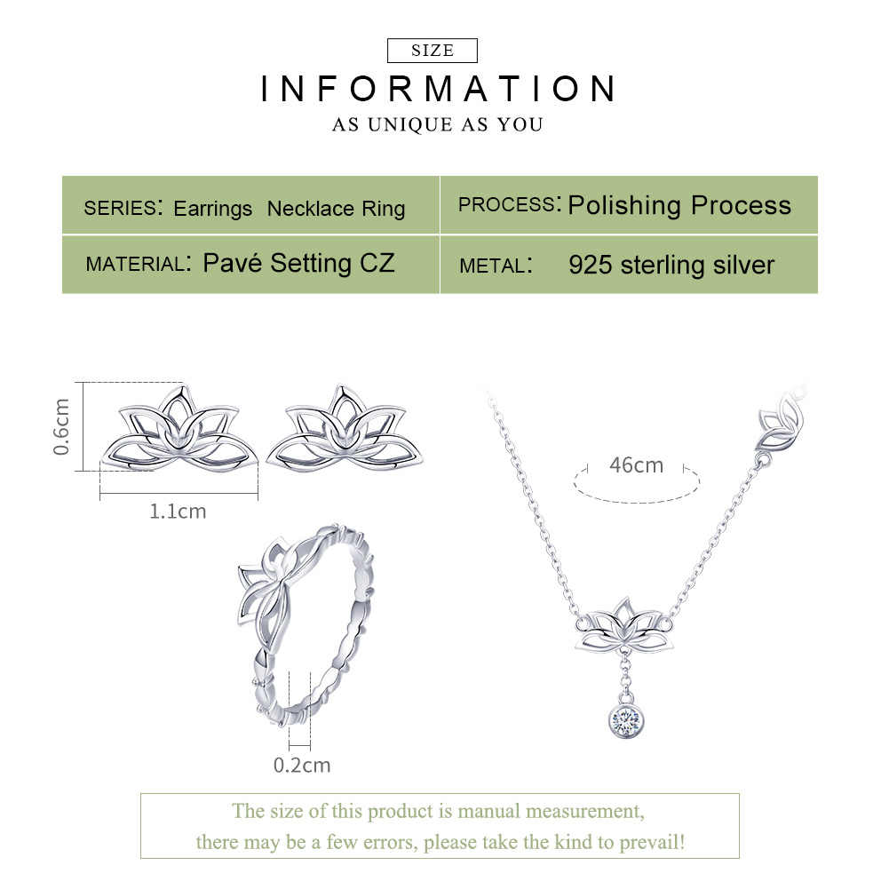 BAMOER Elegante 925 Sterling Silber Lotus Blume Ohrringe & Halsketten Anhänger Schmuck Sets für Frauen Silber Schmuck Geschenk ZHS067