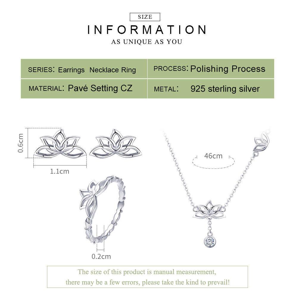Bamoer elegante 925 prata esterlina flor de lótus brincos & colares pingente conjuntos de jóias para mulheres jóias de prata presente zhs067