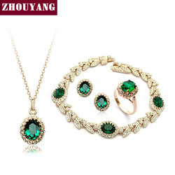 Top Quality ZYS105 Rose Gold Color  Green Austrian Crystal Jewelry Set With 4 Pcs Ring + Eearrings + Necklace + Bracelet