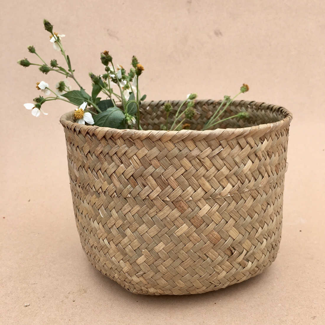 Hanging Flower Pot Planter Woven Dirty Laundry Hamper Storage Basket Toy Collection Holder Case