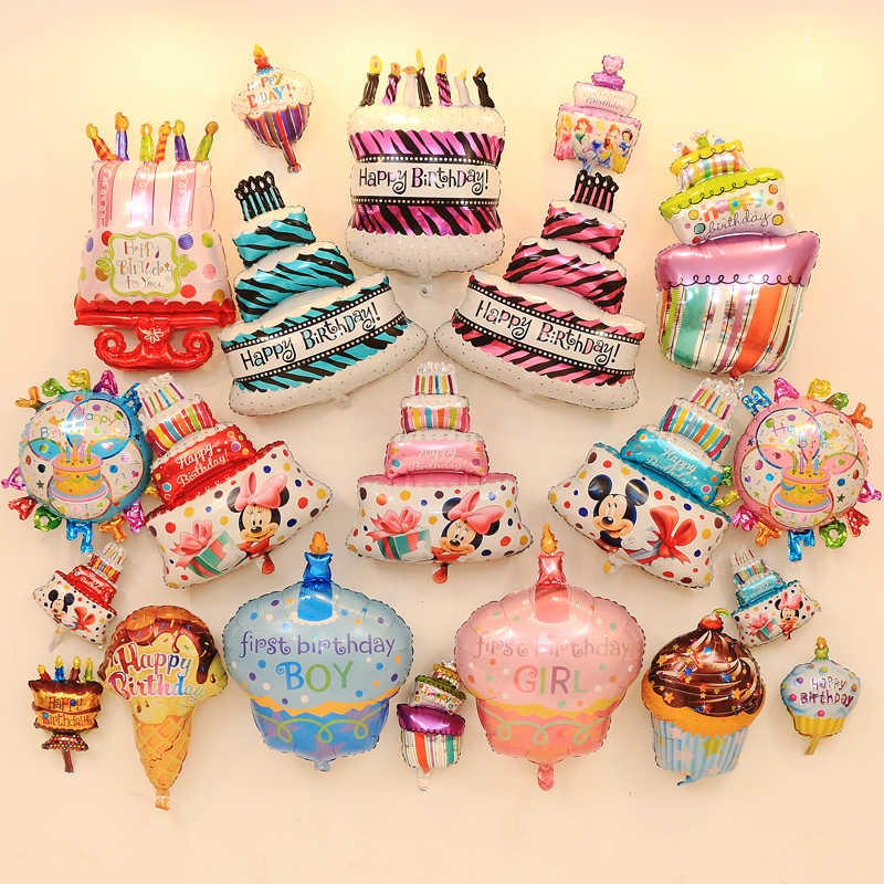 1pcs Big Mini Love Ice Cream Toy Happy Birthday Cake Babyshower Girl Boy Aluminum Balloon Childrens
