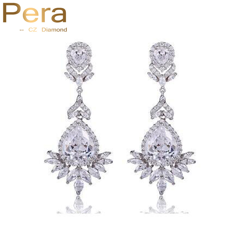 Pera CZ Brand Luxury Silver Color Big Water Drop AAA Cubic Zirconia Stone Long Wedding Costume