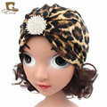 New leopard print turban kids girls cotton hat baby cap with the crystal jewerly