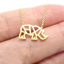 Daisies 1pcs Hot Sale Origami Rhinoceros Outline Shaped Pendant Necklace Wedding Animal Charm Necklaces Jewelry Gift(China)