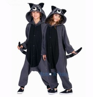 HKSNG Fleece Grey Raccoon Animal Pajamas Kiguruma Gray Racoon Cosplay Costume Onesies For Adult Couples Halloween