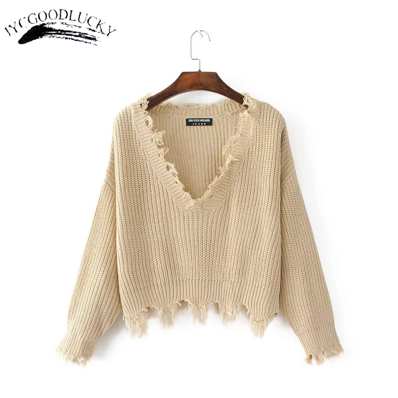 New Fashion 2019 Pullover Ripped Hole Sweaters Loose Jumper Casual White Sweater Women Knitting Sweaters Pull Long Sleev