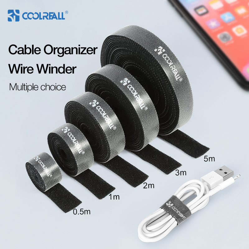 Coolreall  Cable Organizer Wire Winder For Lightning Micro USB Type C Free Length Cable Clip Earphone Holder HDMI Management