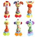 Newborn Cartoon Animal Rattle Baby Giraffe/Elephant/Lion/Duck/Puppy/Monkey Handbells Infant Teether
