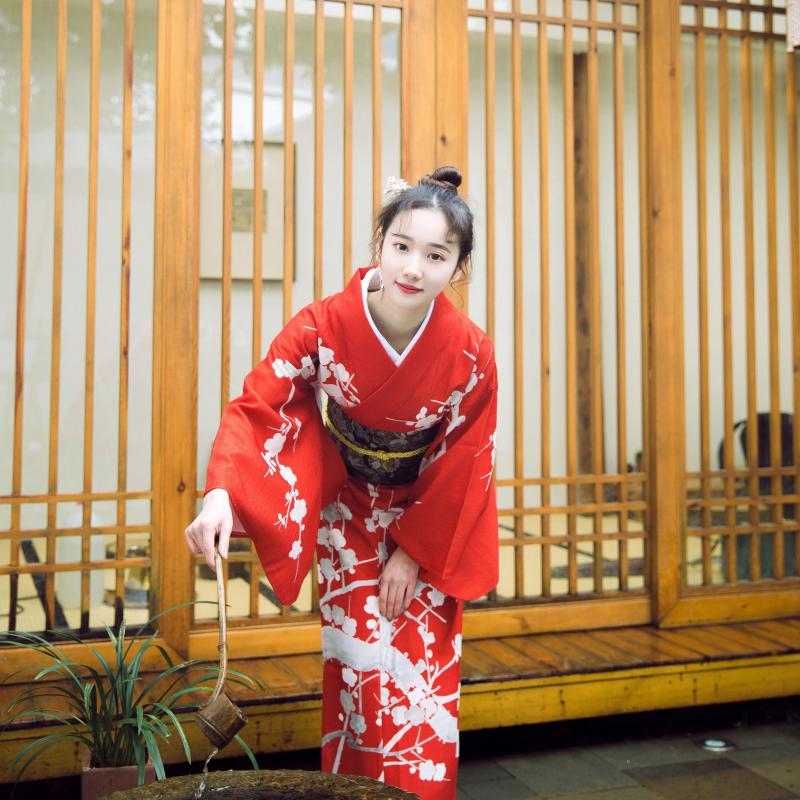 Novelty Japanese Kimono Red Printed Lady Yukata With Obi Casual Robe Gown Cosplay Clothing Elegant Formal Evening Dress S M