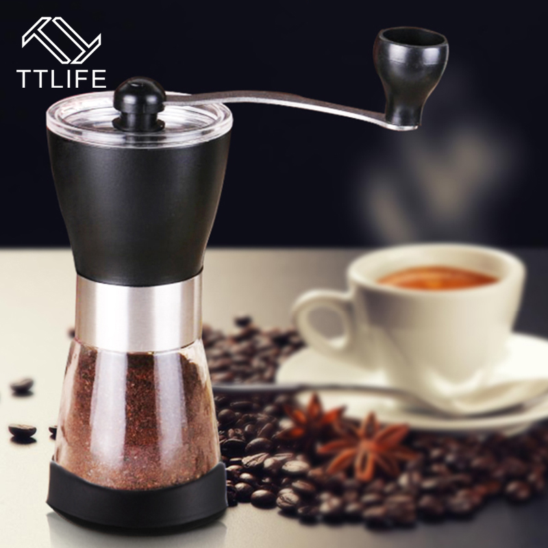 TTLIFE Mini Portable Stainless Steel Washable Manual Coffee Grinder Ceramic Core Home Handhold Coffee Grinder