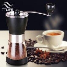 TTLIFE Mini Portable Edelstahl Waschbar Manuelle Kaffeemühle Keramik Kern Hause Haltegriff Kaffeemühle