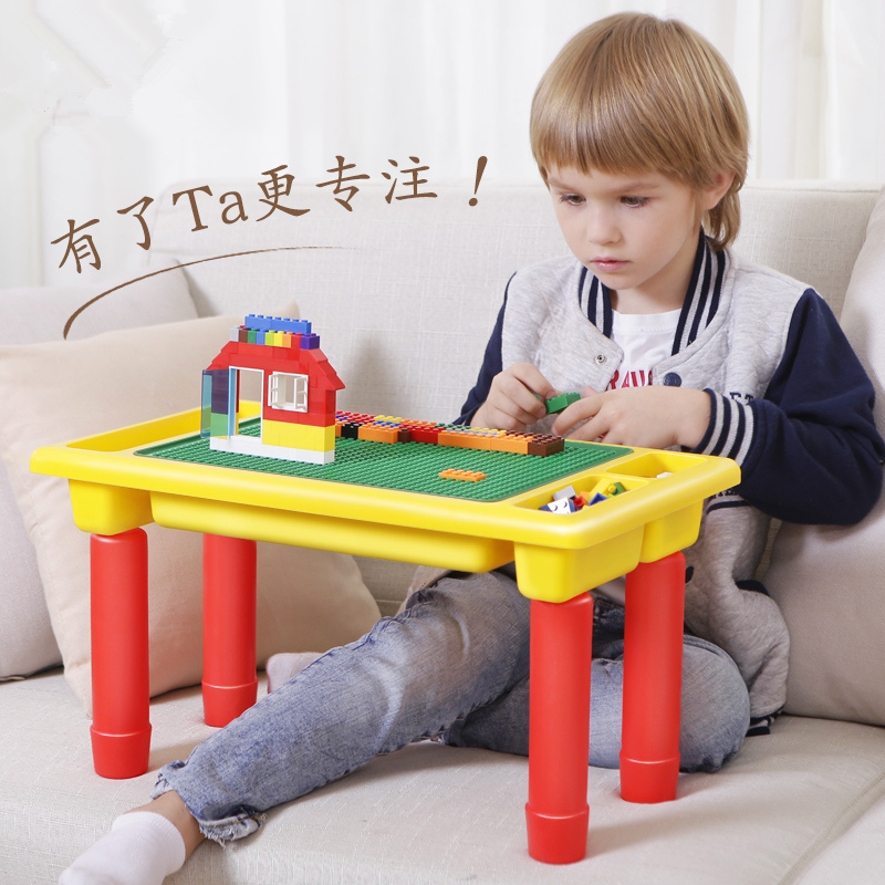 DIY Classic Blocks Table With Baseplate Creative Brick Desk Educational Toy For Kids Compatible With LegoED Small Size Blocks
