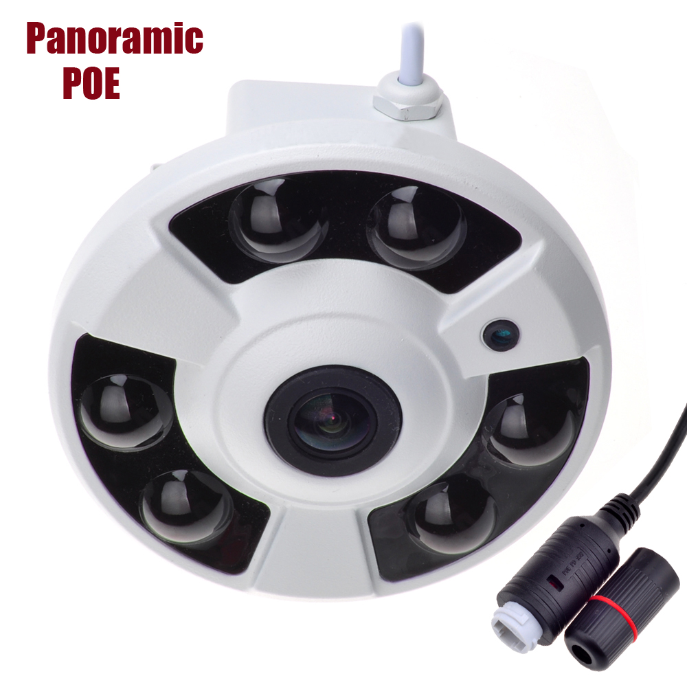 NEW Panoramic IP Camera 720P/960P/1080P Wide Angle FishEye 5MP 1.7MM Lens  CCTV Indoor ONVIF 6 ARRAY IR LED  POE Camera купить