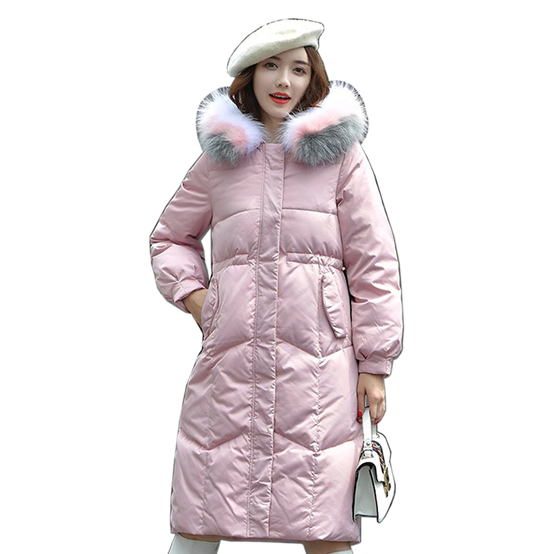 White Duck   Down     Coat   Women Long   Down   Jacket Winter Plus size Hooded Overcoat New 2018 women Thick Warm Jacket Slim Female Parkas