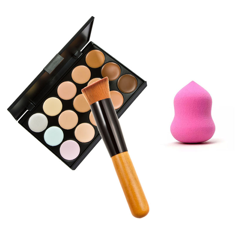 Pro 15 Colors Face Cream Makeup Concealer Contour Palette + Sponge Gourd Puff Powder Foundation Brush Maquiagem Make Up Set