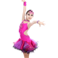 Girls Fashion Diamond studded Open Back Sexy Dress Children Kids Latin Samba Tango Performance Competition Dress