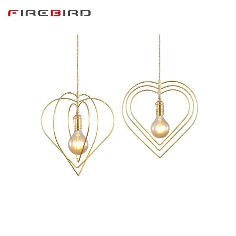 Pendant Lights Dining Room Pendant Lamps Modern European Brass Restaurant Coffee Bedroom Lighting Iron E27 Bulbs Holder PL07
