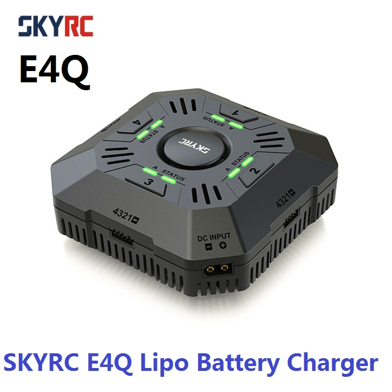 SKYRC E4Q Charger 4 Ports Balance Charger For 2 - 4S LiPo Battery Charger 11-26.1V DC Input XT60 Connector 2A 3A 5A Adjustable