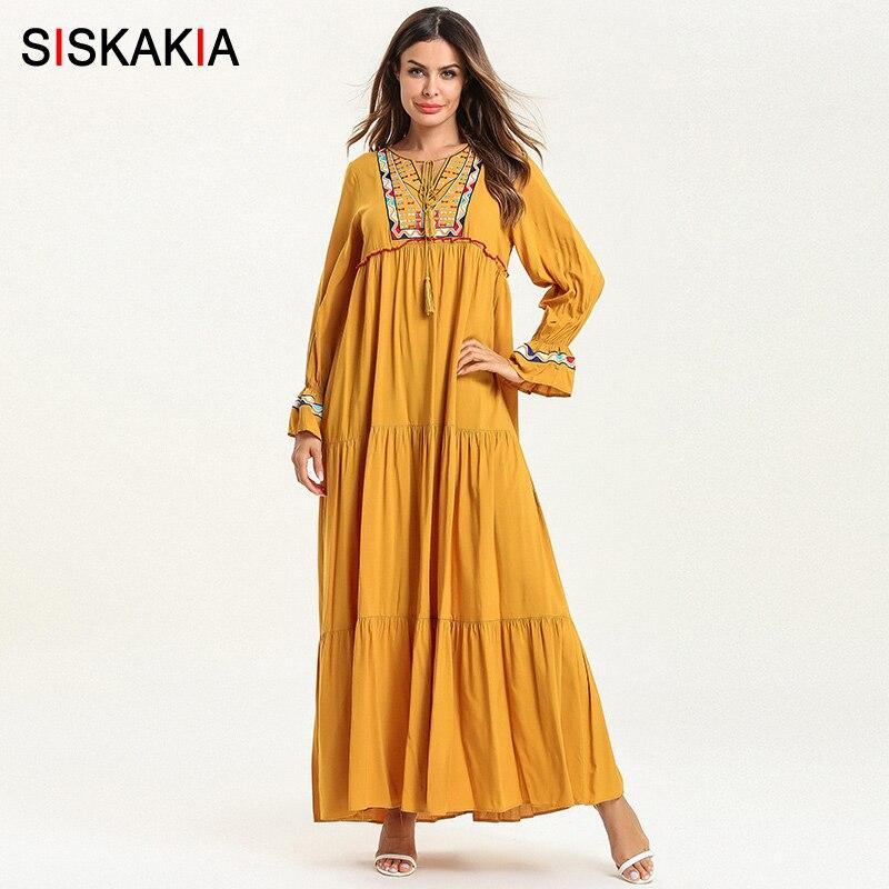 Siskakia Ethnic Embroidery Women Long Dress Spring 2019 Sweet Ladies Maxi Dresses Tassel Drawstring Muslim Casual