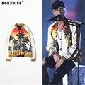 Justin Bieber jacket men fashion Palm Coconut tree Pattern Print casual Baseball women bomber jacket coat chaquetas mujer TC383