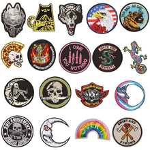 PGY New Punk Patch Rock Band Skull Patch Biker Iron On Jeans Badges Cheap Embroidered Motorcycle Patches For Clothes Stickers patch design zip embellished biker jeans