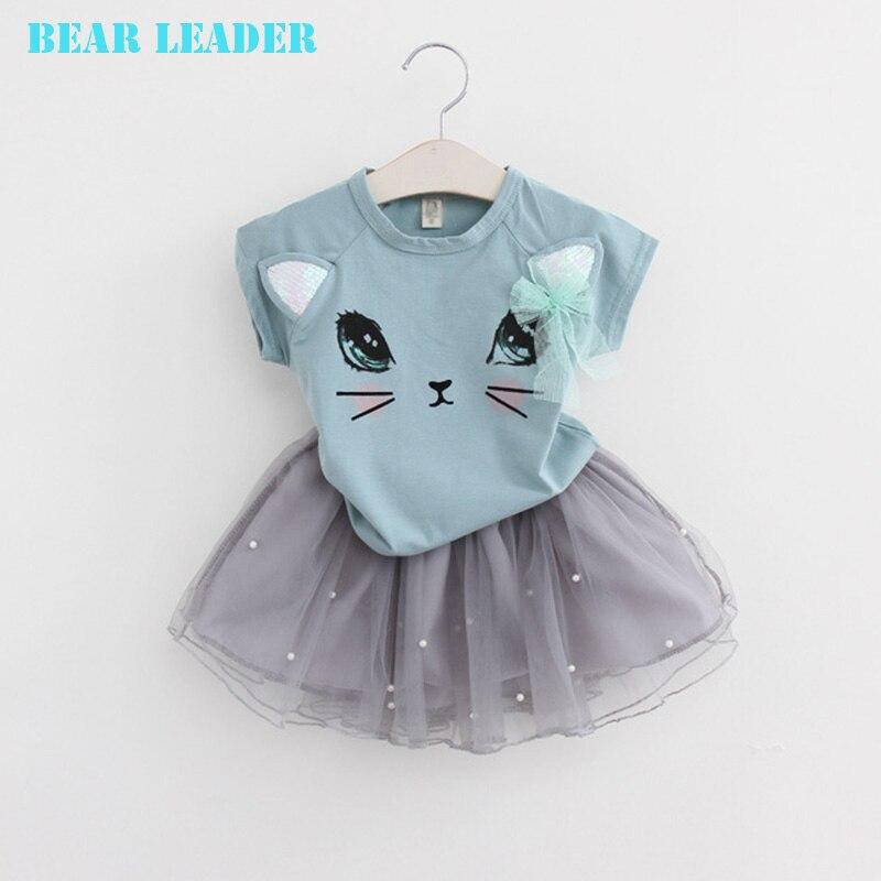 Bear-Leader-Girl-Dress-2016-New-Summer-Casual-Style-Cartoon-Kitten-Printed-T-ShirtsNet-Veil-Dress-2Pcs-for-Girls-Clothes-2-6Y-4