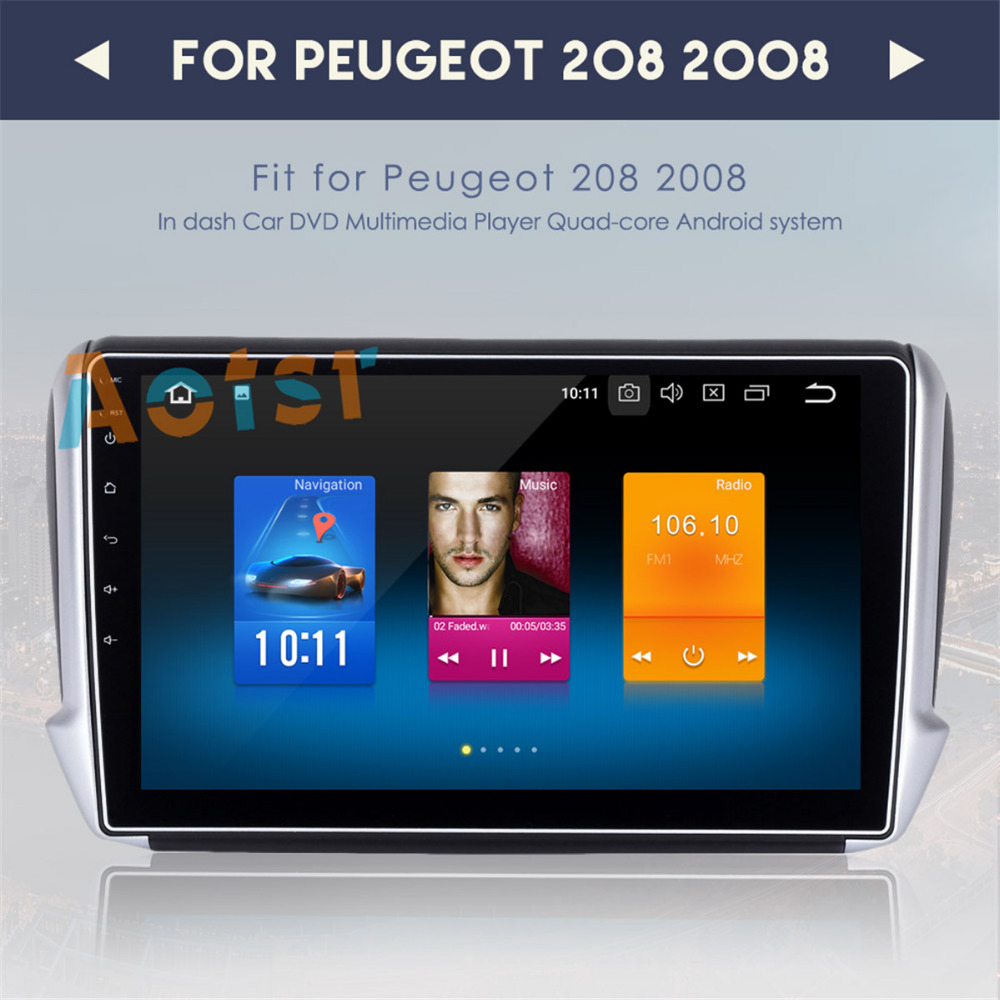 2 din radio android 8.0 GPS Navi for <font><b>Peugeot</b></font> <font><b>208</b></font> 2008 <font><b>autoradio</b></font> navigation head unit multimedia video play stereo 8 Core 4Gb Ram image