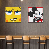 50*50 Plate Pixel Art Mosaic Painting Set DIY Cartoon Figures Mickey Mouse Sponge Portrait Bob Building Blocks toy Creative Gift