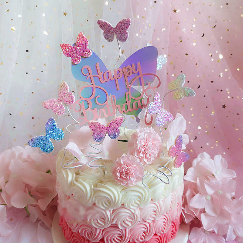 Enjoyable Butterfly Cake Decorations Blingbling Colourful Laser Butterfly Funny Birthday Cards Online Unhofree Goldxyz