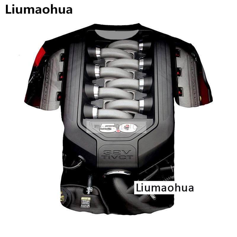 Liumaohua New Supercar Ford Mustang 5.0L <font><b>V8</b></font> Engine Power Heart <font><b>t</b></font> <font><b>shirt</b></font> 3D Print <font><b>T</b></font>-<font><b>shirt</b></font> Unisex Tees Tops image