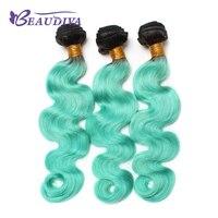 BEAUDIVA מראש בצבע Ombre ברזילאי שיער Weave חבילות גוף גל 1B/אור GreenHuman חבילות לארוג שיער אדם רמי שיער