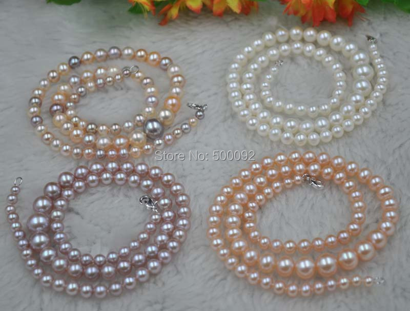 wholesale 4 Qty Stunning 4-8.5mm Various color Freshwater Pearl necklace wholesale 1 4 2v3a