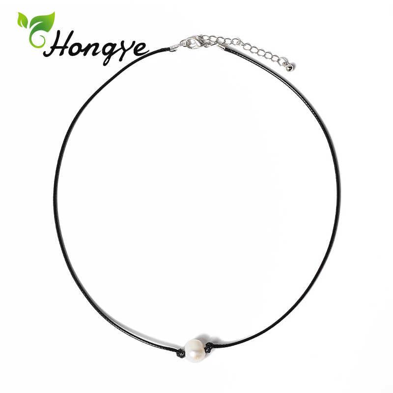 Hongye رخيصة قلادات اللؤلؤ الطبيعي مصمم العلامة التجارية النساء حبل سلسلة أفضل الاكسسوارات طوق الإناث اللؤلؤ قلادة قلادة