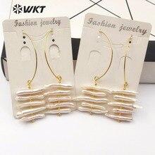 WKT WT-E520 натуральный жемчуг Эффектные серьги золото полуоткрытый эллипса металлический обруч с случайным размером полосы жемчужные серьги для свадьбы