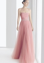 Neue Ankunft Trägerloses Eine Linie Tulle Rosa Formale Abendkleider Lange Party Kleider BO1169