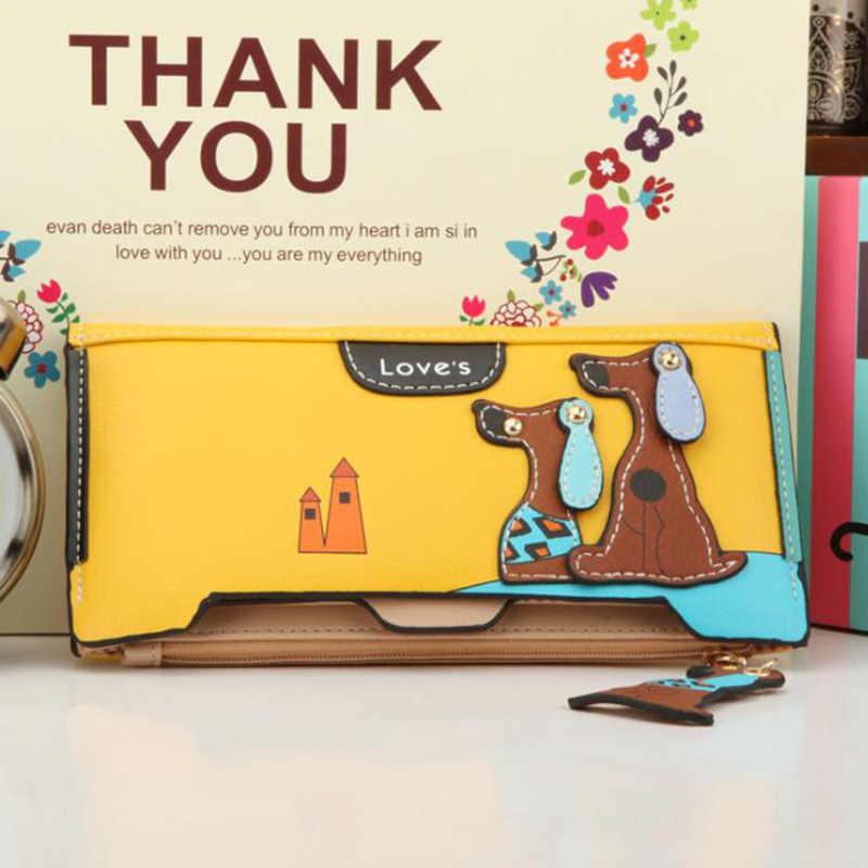 Cães 3D Longo Zíper Da Bolsa Da carteira Das Mulheres Carteira Bonito Dos Desenhos Animados Titular do Cartão de Embreagem Das Senhoras Mais Cores Carteira de Couro 2019 Moda
