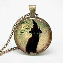 2017 New Limited Collier Collares Black Cat Necklace Hat Pendant Gothic Art Picture Necklaces Animal Jewelry Halloween GiftHZ1