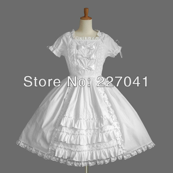 Japanese Girl Lolita anime Halloween white cosplay costume dress Free Shipping A0143
