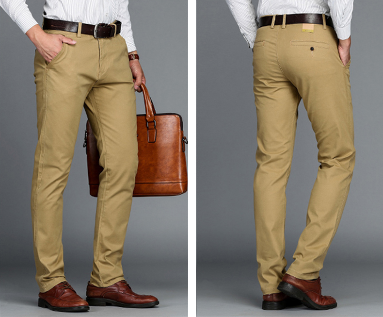 HTB1wUy8dUR1BeNjy0Fmq6z0wVXay VOMINT Mens Pants High Quality Cotton Casual Pants Stretch male trousers man long Straight 4 color Plus size pant suit 42 44 46