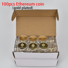 100PCS Gold Plated Ethererum Coin with Plastic shell Cryptocurrency Metal coin For Gift