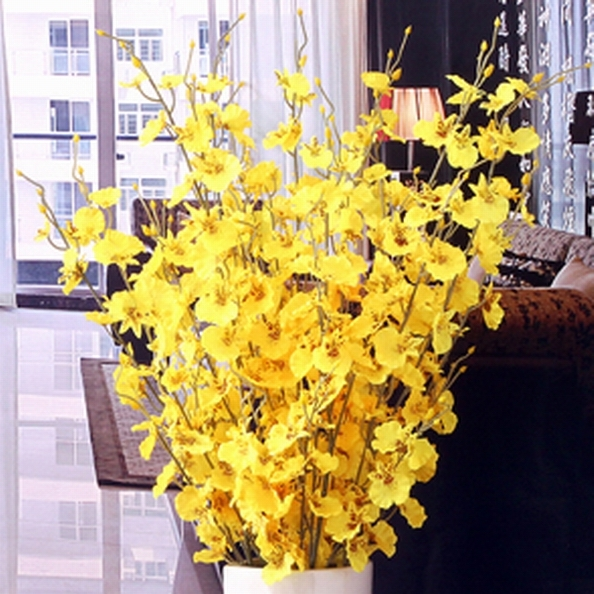 Aliexpress buy home decoration oncidium flowers decorative home decoration oncidium flowers decorative flower floor mounted wedding decoration rustic yellow orchid bouquet pack mightylinksfo