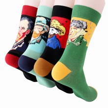 2019 new oil painting socks cotton men sport Europe and American wind jacquard portrait sock deodorant