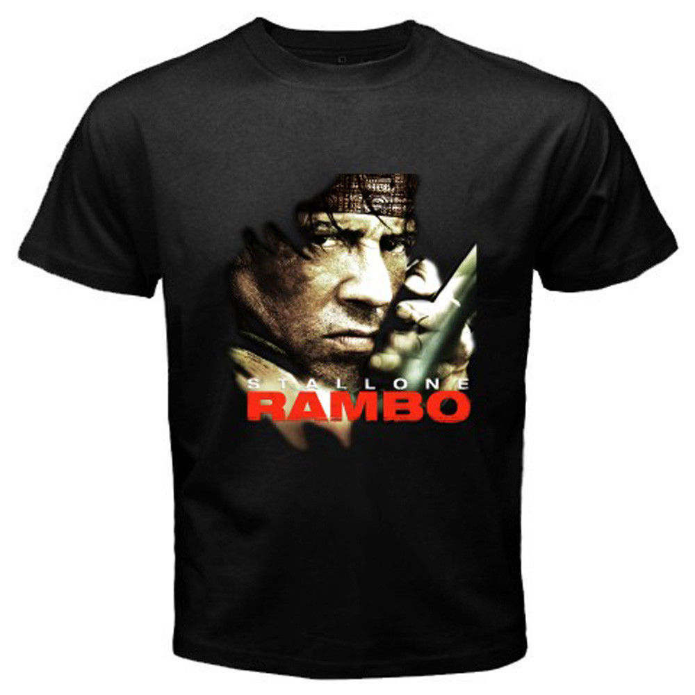 New RAMBO Classic Action Movie Sylvester Stallone Men's Black T-Shirt Size S-3XL