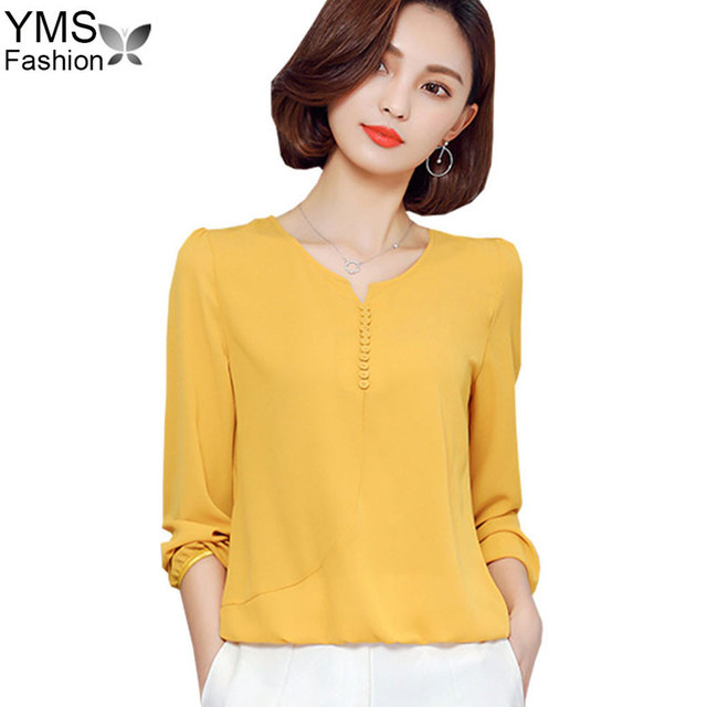 Spring Summer Chiffon Blouse Shirts 2018 Korean Style V Neck White Office  Shirts Loose Tops Plus Size Long Sleeve Women Clothing f388a1866f67