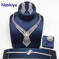 Nankiya High Quality Cubic Zirconia Wedding Jewellery Set Trendy Set Water Drop Shape Bridal Sets for Party Women Crystal NC762