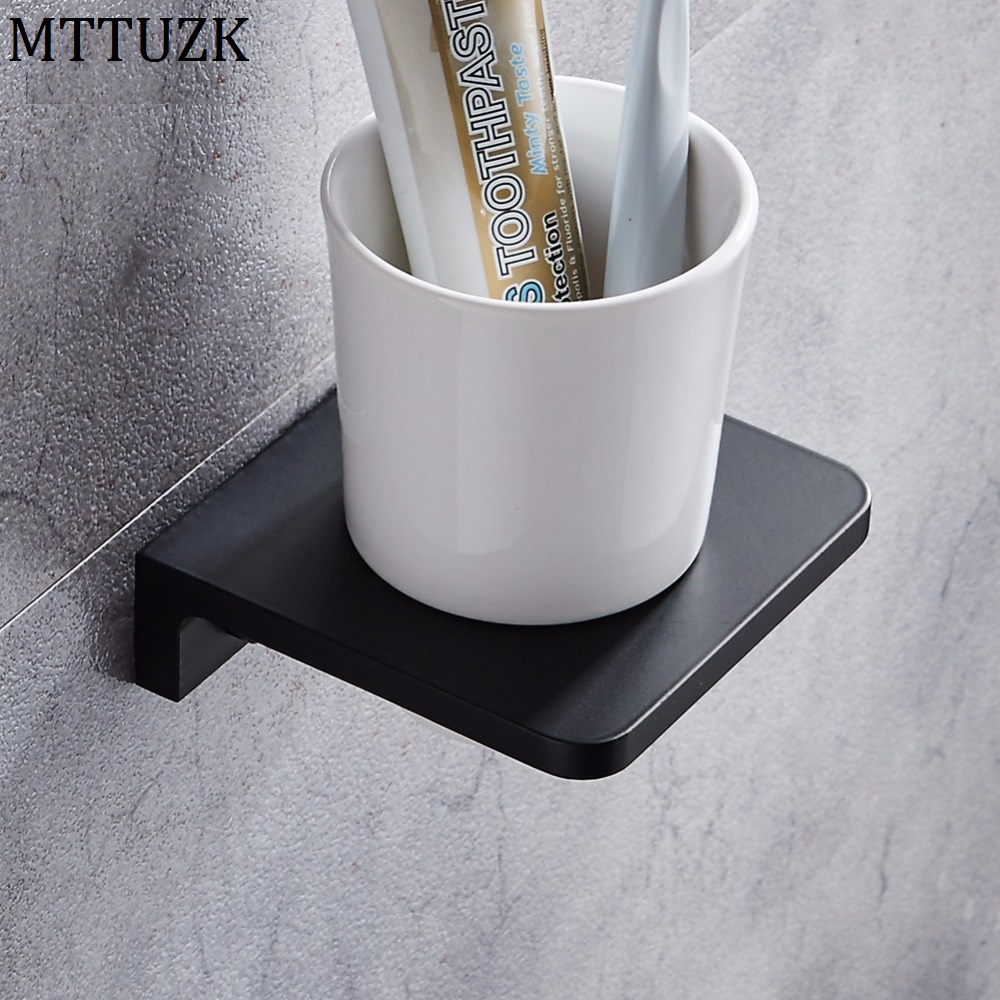 MTTUZK Matt Black Toothbrush Holder Wall Mounted Toothbrush Cup Holder Solid space aluminum Shelves With Single Ceramics Cup Set image