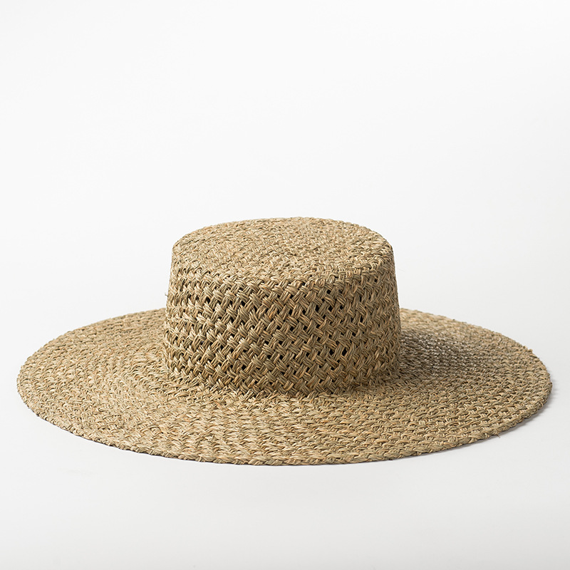 New Hand woven Seaweed Flat top Straw Hat for Men and Women Outdoor Travel Sunscreen Beach