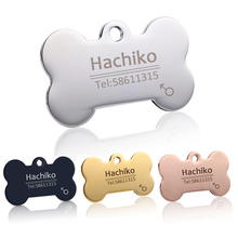 Free engraving Multiple languages Pet cat dog collar accessories Stainless steel ID tag customized name telephone B02