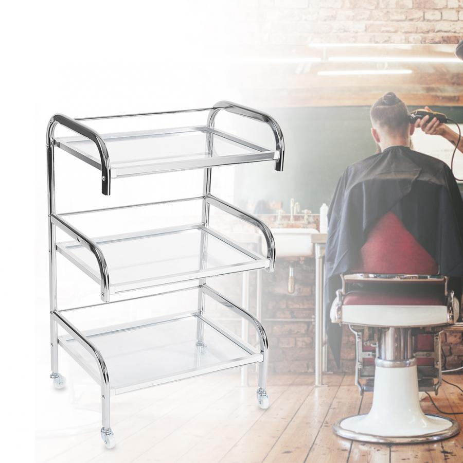 Professional Electroplated Tempered Glass Rolling Wheel Storage Rack Beauty Trolley Cart Storage Trolley Styling Accessories