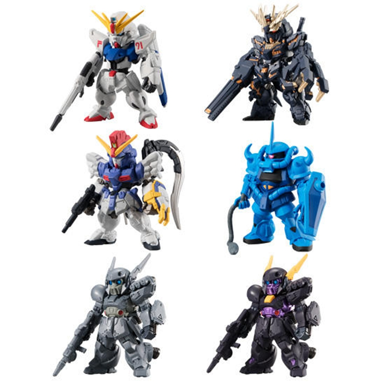 WSTXBD Original BANDAI 6Pcs/Set Q Version FW Gundam Converge#12 PVC Figure Toys Figurals Model Kids Dolls Brinquedos bandai bandai gundam model sd q version bb 309 sangokuden wu yong bian xiahou yuan battle